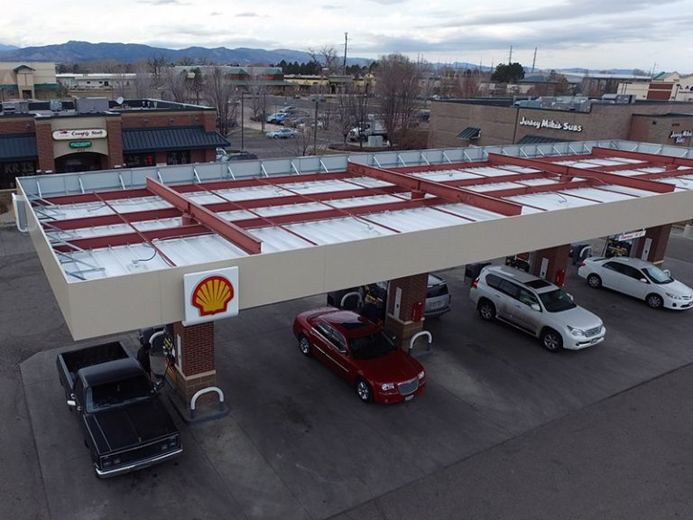 Shell Gas Station canopy installation 3