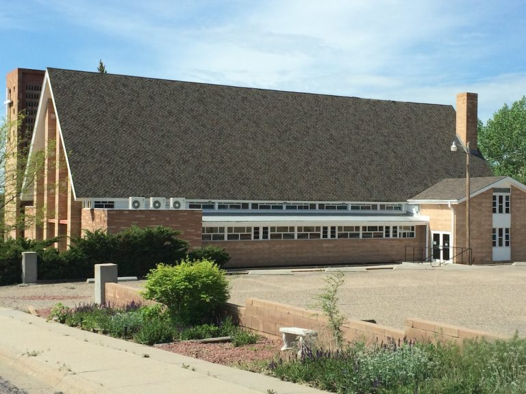 Composite shingle roof on church